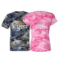Wish   Couple T-Shirt Camouflage Shirts King & Queen Redneck Country Love Matching Tee Valentine's Day present
