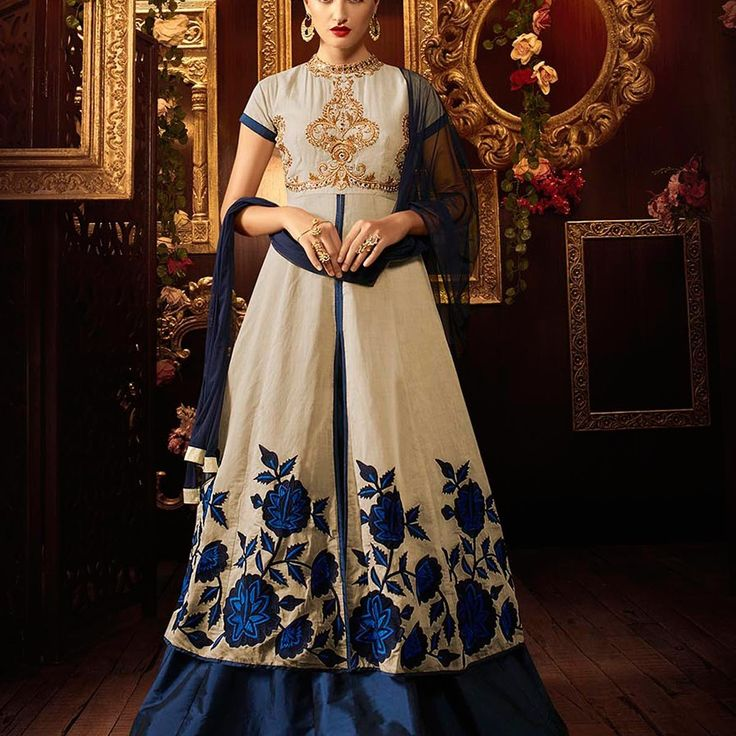 Khadi Silk Blue Lehenga Style Anarkali Suit » Shoppers99  #khadi #silk‬ #anarkalidress #anarkalisuit #pink #blue‬ #partywear #partydress‬ #eid #lehengasuit #lehenga #anarkalilehenga