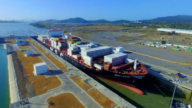 The Neopanamax containership MSC Anzu transits the Pacific-facing Cocoli Locks during the 1000th transit, March