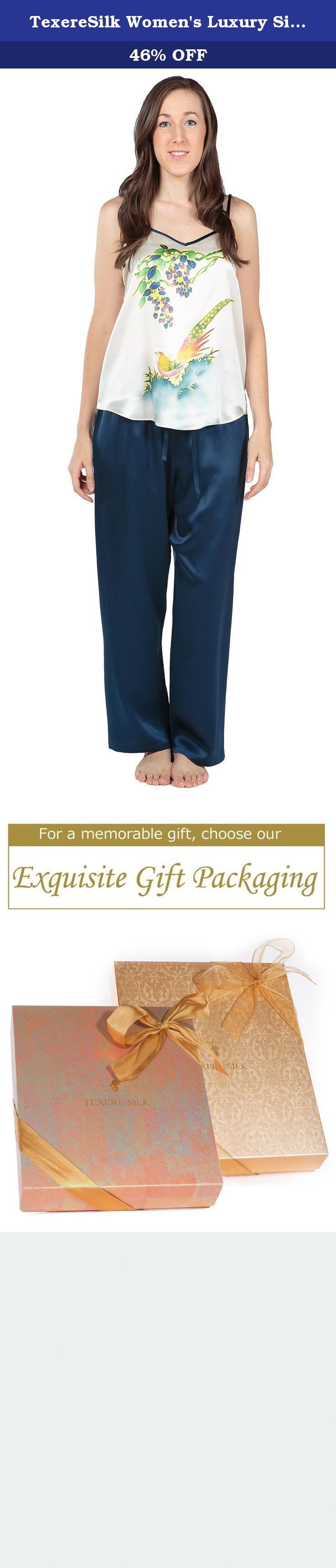 TexereSilk Women's Luxury Silk Pajama Set (Phoenix Paradise, Natural White, Medium) Popular Gifts for Women WS0005-NWH-M. An enchanting hand painting of a phoenix decorates this playful pajama set. Features adjustable strap with durable brass sliders as well as an elasticized waist with drawstring for optimal fit. Makes a great gift for any occasion.