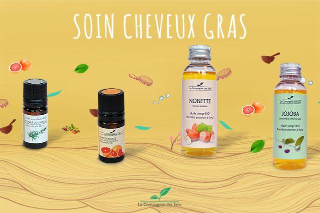 Soin capillaire contre les cheveux gras aux huiles essentielles séborégulatrices.