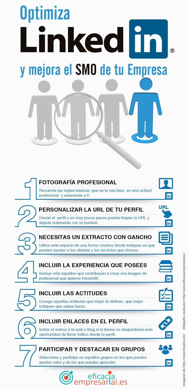 Una #infografía que nos dice: Optimiza #Linkedin y mejora el #SMO de tu empresa. Vía @alfredovela #RRSS #SocialMedia #RedesSociales