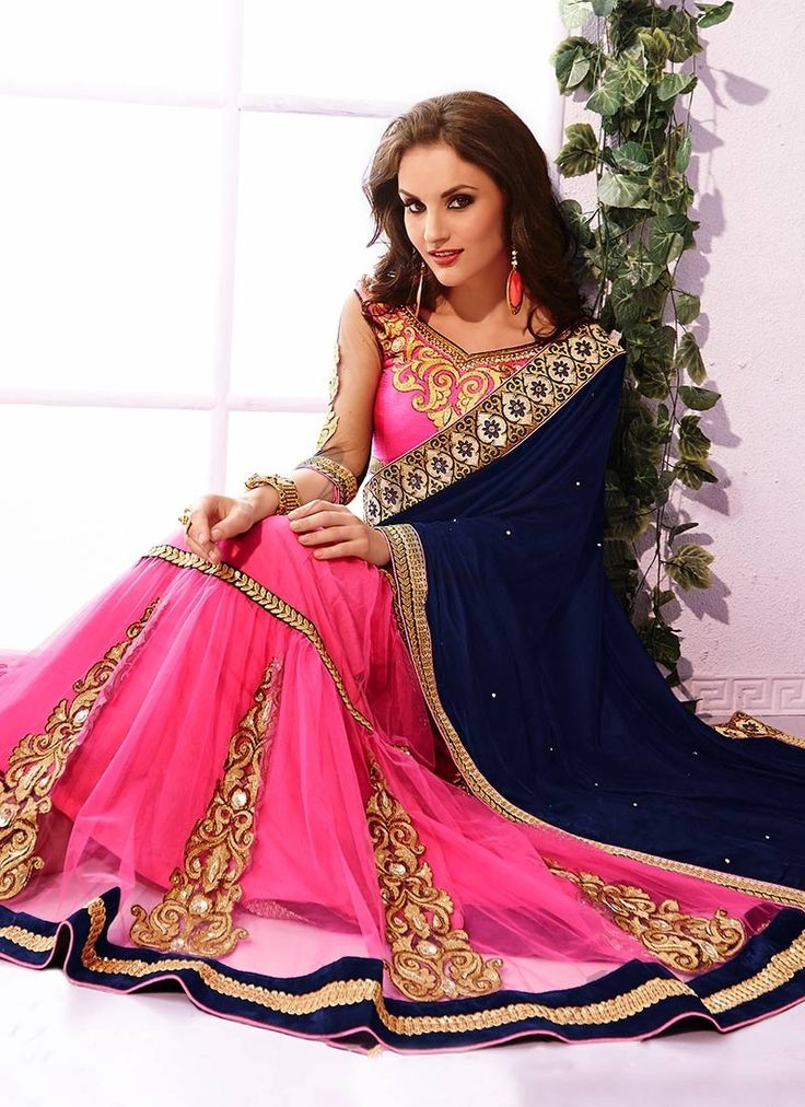 Blue and Pink Embroidered Wedding Designer Saree