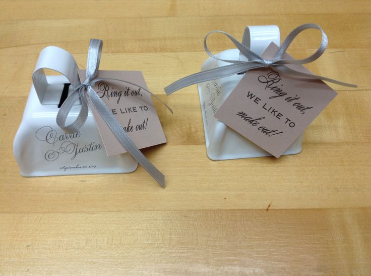 Carrie Justin Had Their Wedding Bells Printed In Gray The Matching Ribbon Ties On Ring For A Kiss Message Cards That Match Rose