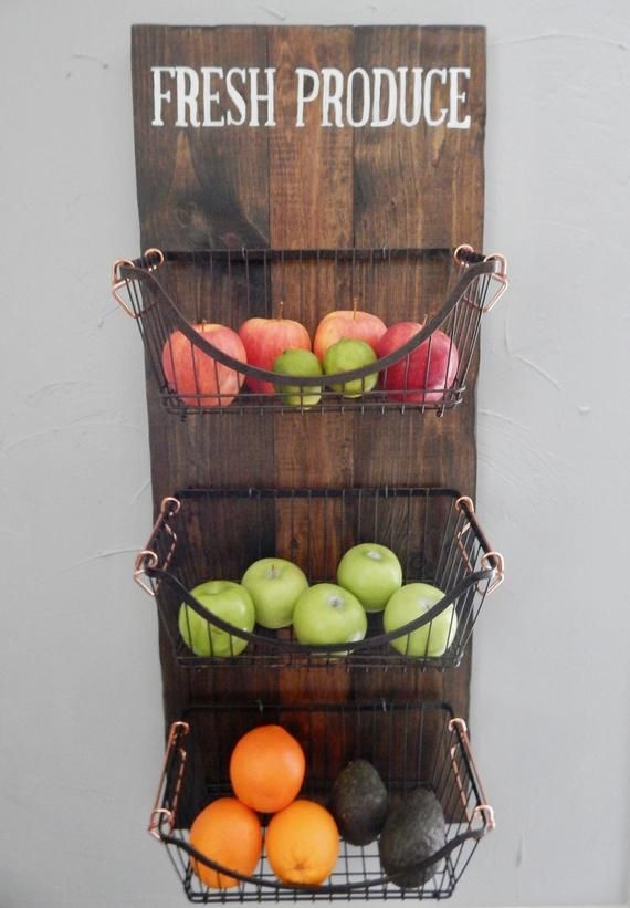 Wall Mounted Produce Basket Farmhouse Fruit And Vegetable Etsy In 2020 Kitchen Wall Storage Wall Storage Diy Fruit And Vegetable Storage