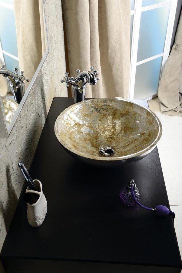 MURANO ANIMA skleněné umyvadlo kulaté 40x14 cm, stříbrná a zlatá, SAPHO E-shop