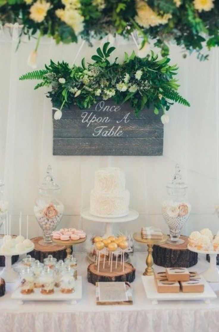 From kara s party ideas rustic dessert table display designed by - Rustic Chic Garden Wedding Dessert Table Display Love The Sign And The Flowers