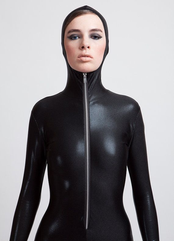 Hey, I found this really awesome Etsy listing at https://www.etsy.com/listing/165529768/the-perfect-hooded-black-catsuit-wet