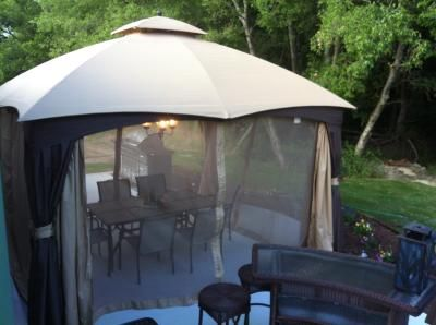 Allen Roth Brown Rectangle Screened Gazebo 10 Ft X 12
