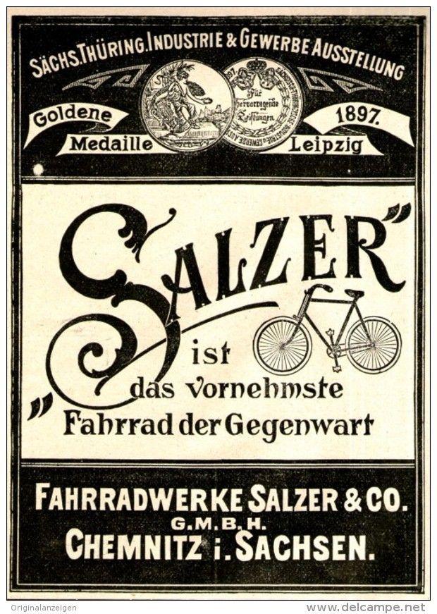 Original Werbung Anzeige 1897 Salzer Fahrrad Chemnitz Ca