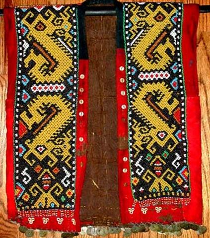 "KAYAN TRIBAL BEAD JACKET:  bead jacket is from the Kayan tribe of Sarawak.  The ""cloth"" is beaten bark"