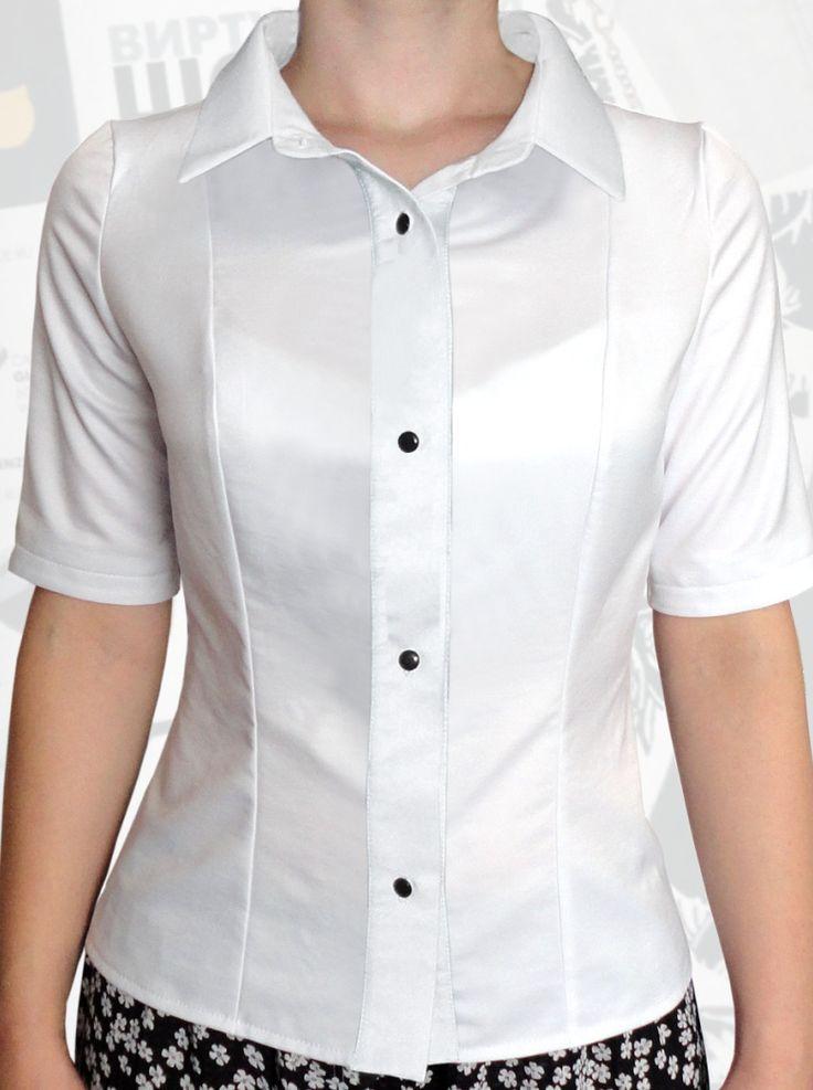 33$ Белая блузка для полных девушек с коротким рукавом: классический вариант Артикул 791, р50-64 Белые блузки большие размеры Деловые блузки большие размеры Офисные блузки большие размеры  Блузки классические большие размеры Блузки дизайнерские большие размеры  Блузки с коротим рукавом большие размеры