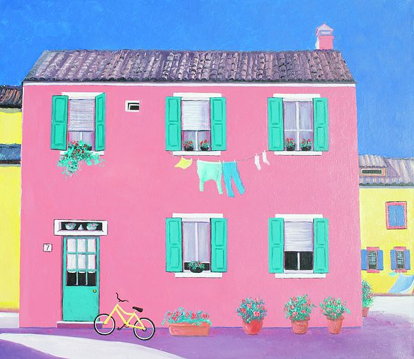 Pink house on the island of Burano, Venice, Italy