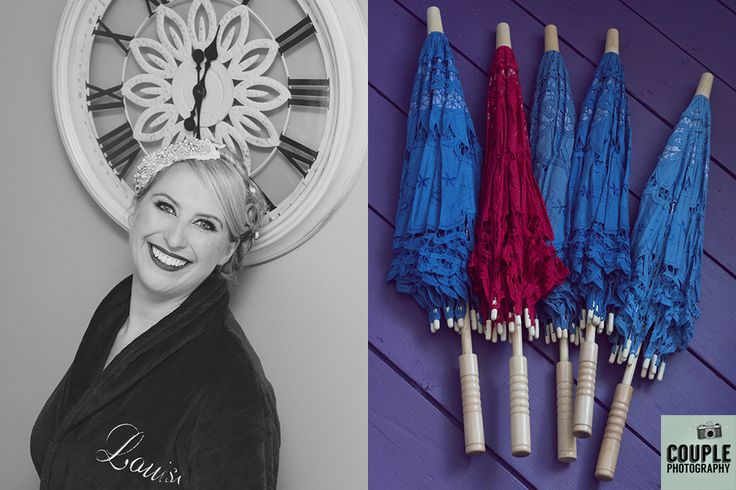 The Bride & her colourful parasols. Weddings at Moyvalley Hotel and Golf Resort Photographed by Couple Photography.