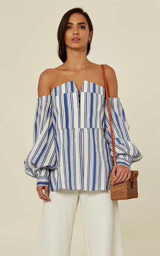 0447945a55bb10 Off Shoulder Striped Shirt Blue Bergamot By Jovonna London in 2019 ...