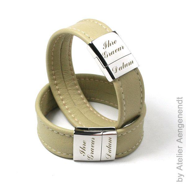 Armbänder - LA-N (GB) Partner Schmuck Lederarmband mit Gravur - ein Designerstück von Fotoschmuck24 bei DaWanda