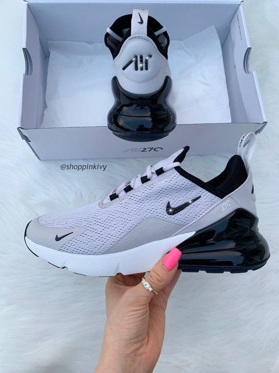 Swarovski Nike Air Max 270 Shoes Blinged Out With Swarovski Crystals Bling Nike Shoes Gray