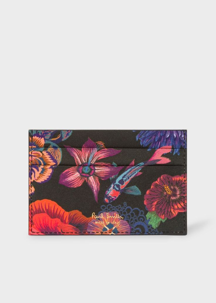 Men's Black 'Ocean' Print Card Holder With 'Bright Stripe' Webbing Paul Smith - Paul Smith