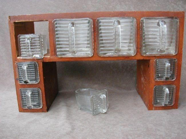 Antique Hoosier Counter or Cupboard Cabinet w Heye Schauenstein w 9 Spice Scoops | eBay