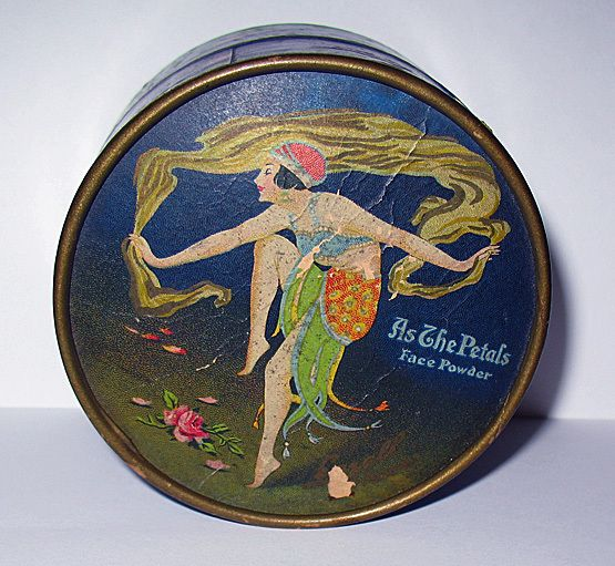 "Rare Art Deco ""As the Petals"" Harem Girl Powder Box from Milady's Choice at rubylane.com"