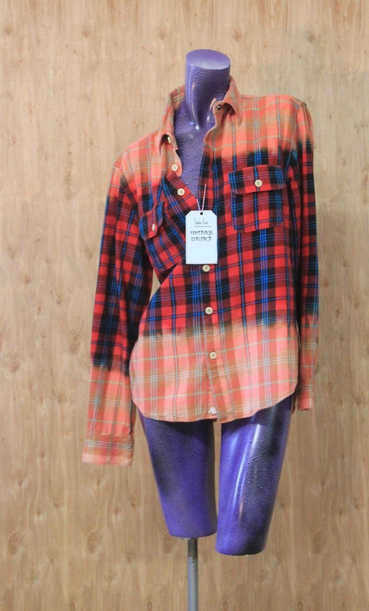 Studio Vivus Ombré Flannel Shirts:  Bleach Dipped Wearable Art - latest shirts for mens, a t shirt, shirts for guys *ad