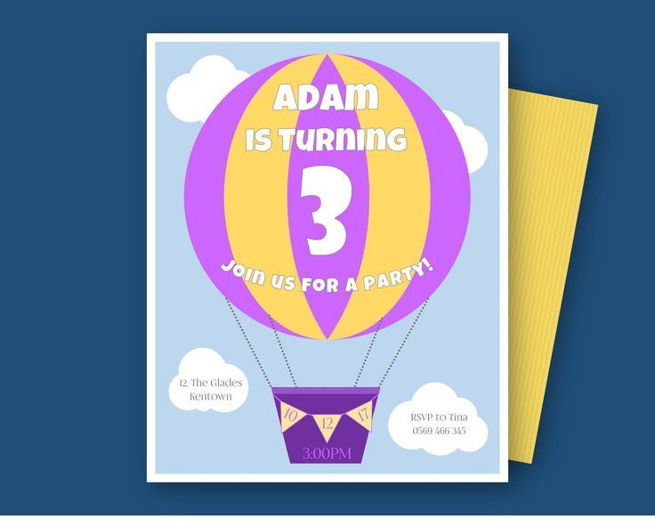 Hot-air Balloon Invitation/ Hotair Balloon Birthday Invite/ Hot air balloon invitation/ boy and girl/ printable and download by GROWaPEARcreations on Etsy