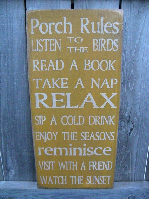 Vintage Style 11x24 Patio Porch Deck Rules Typography by Wildoaks, $42.00