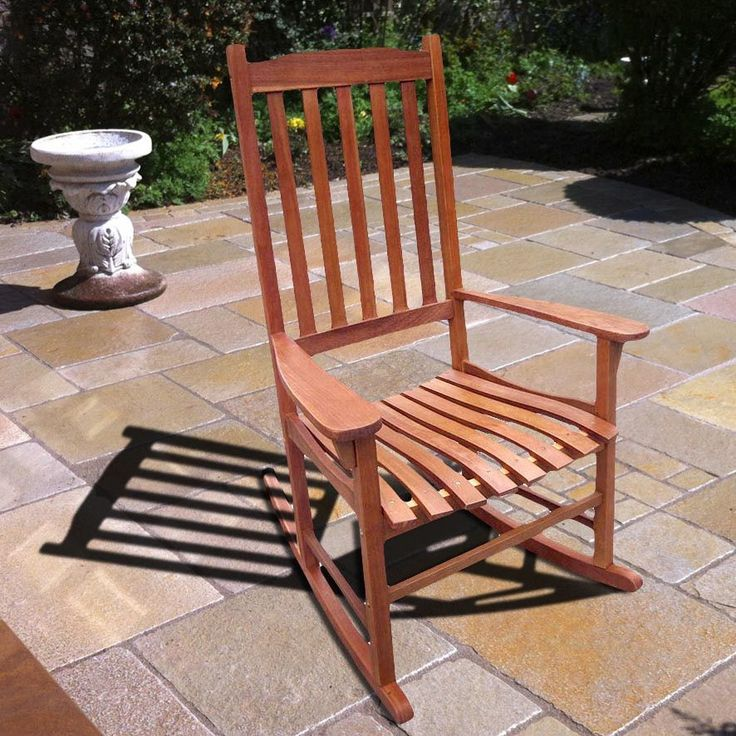 Merry Products Traditional Acacia Hardwood Rocking Chair (Traditional Rocking Chair, Natrual Stained), Brown, Size Single, Patio Furniture