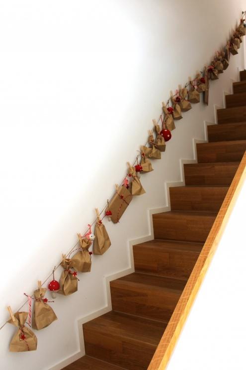 Adventskalender langs de trap