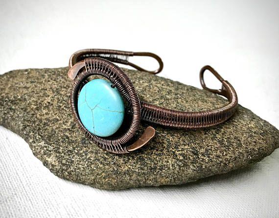 Fil de cuivre enroulé Bracelet avec Pierre Turquoise