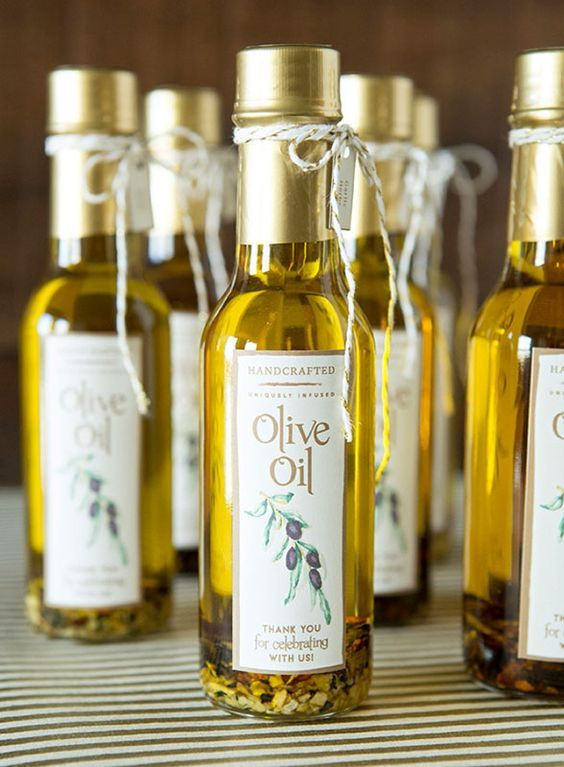 These baby olive oil wedding favors are just as easy to DIY as they are cute!