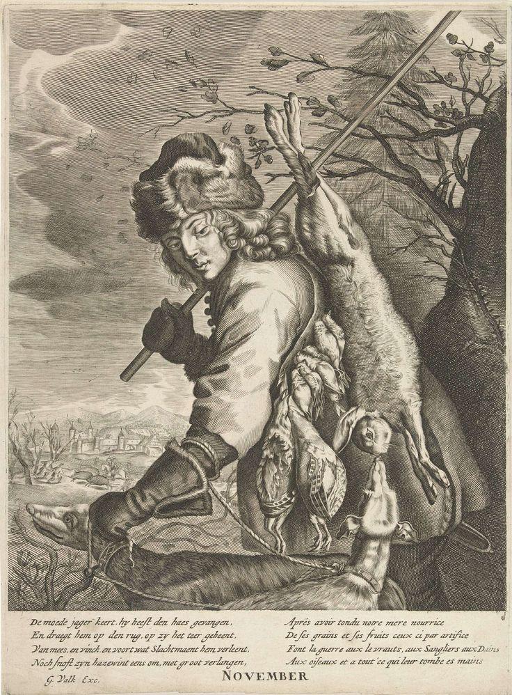 Anonymous | November: een jager met zijn buit, Anonymous, Reinier van Persijn, Joachim von Sandrart, 1670 - 1726 | De maand november: winterlandschap met een jager die zijn buit op de rug draagt. Links op de achtergrond een wilde zwijnenjacht. Linksboven het teken Boogschutter. Onder de voorstelling een gedicht in het Nederlands van Joost van den Vondel en een vers in het Frans.