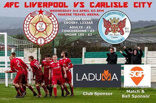 Match Day Carlislecityfc Tonight 8pm Ko Nwcfl Mta L23 3as 5 3 Oaps 2 U18s Match Ball Sponsor Sinclair Goldberg Price Liverpool Team Forming League