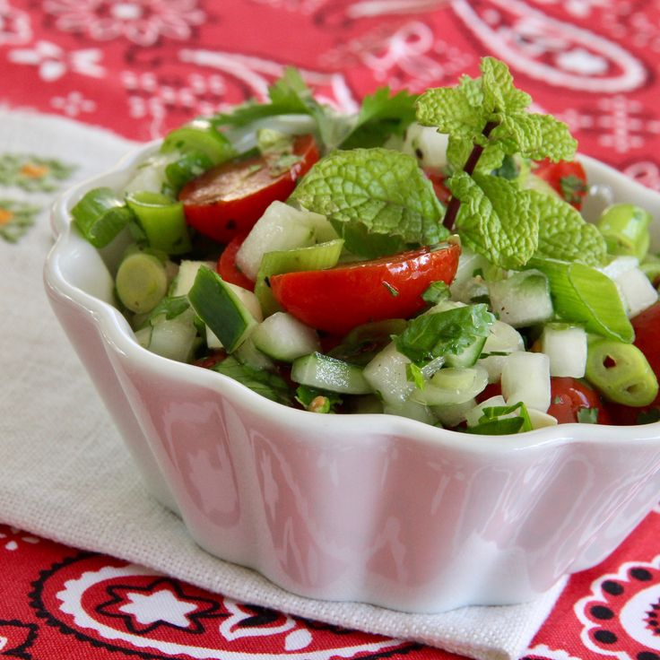 Tomato Cucumber Kachumbar is an Indian-style salad, and was delicious served over grilled fish.