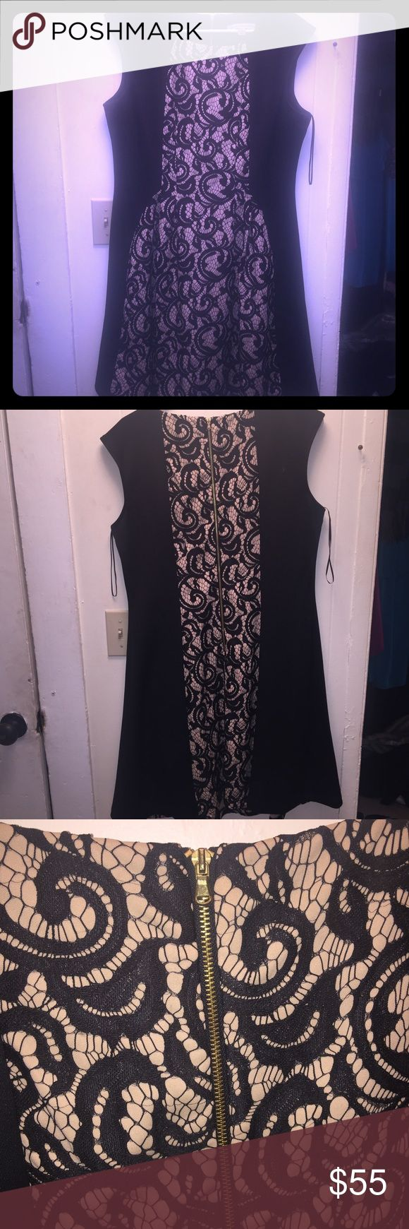 DANNY AND NICOLE FIT AND FLARE BLACK AND NUDE LACE DANNY AND NICOLE FIT AND FLARE BLACK AND NUDE LACE nude lace dress is a perfect fit and super comfortable. Scoop neck - back zipper - figure flattering - a line - Size 16 - worn ONCE to a wedding Dresses Asymmetrical