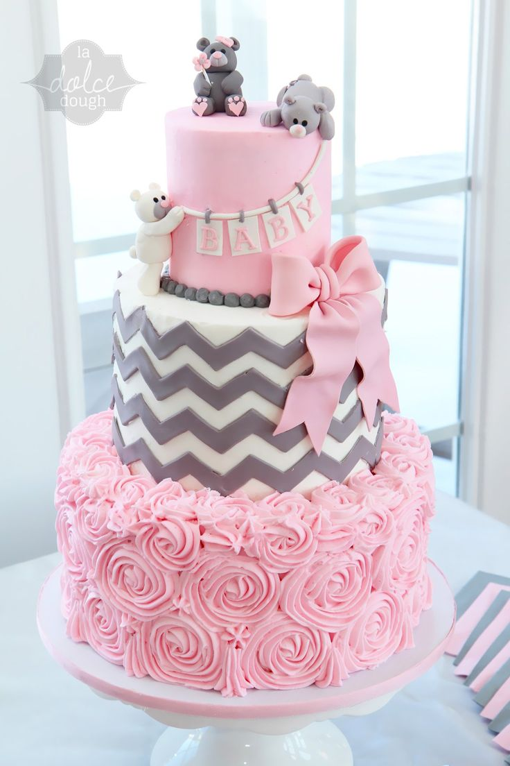 Cake ideas on pinterest pirate cakes marshmallow fondant and - White Pink And Gray Baby Shower Cake With Chevron Flat Rose And Pick Bow With Fondant Bears