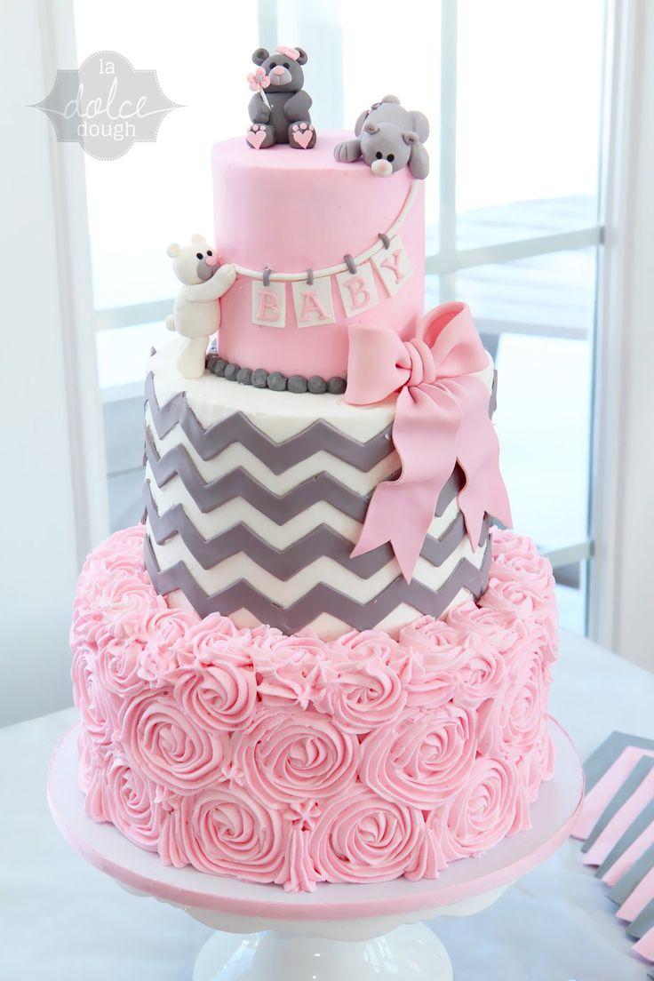 tiered baby shower cake pink and yellow | Chevron baby shower cake – La Dolce Dough , Sylvania Ohio