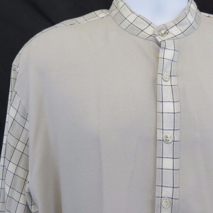 Ab-Se-Lut Identity Large Gray Black Plaid Band Nehru Collar L/S Club Shirt  EUC! #AbSeLutIdentity #ButtonFront