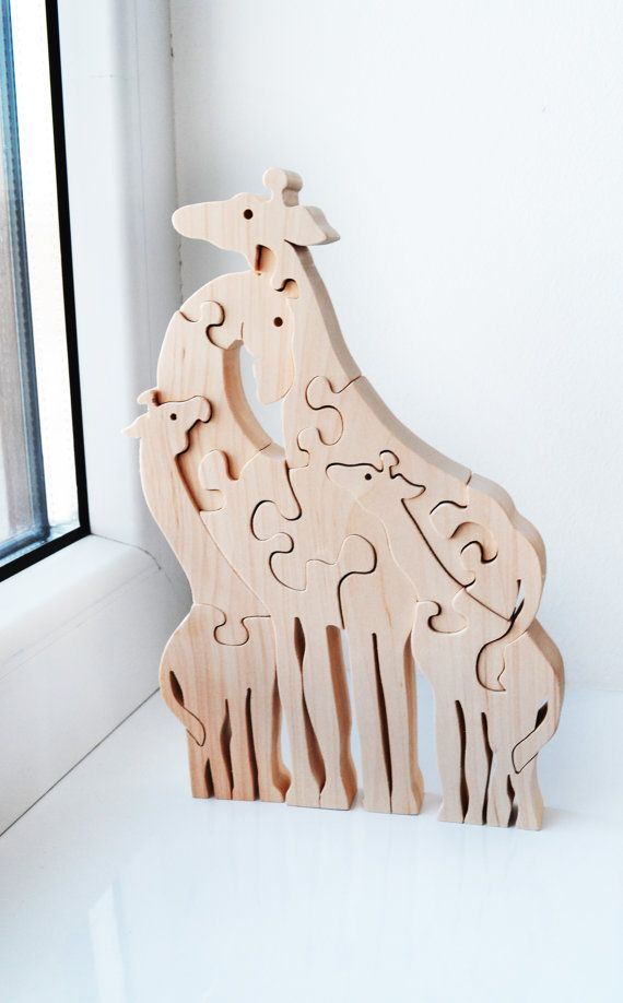 Animal puzzle  Wooden Puzzle giraffe  Educational par LadyEvaDESIGN