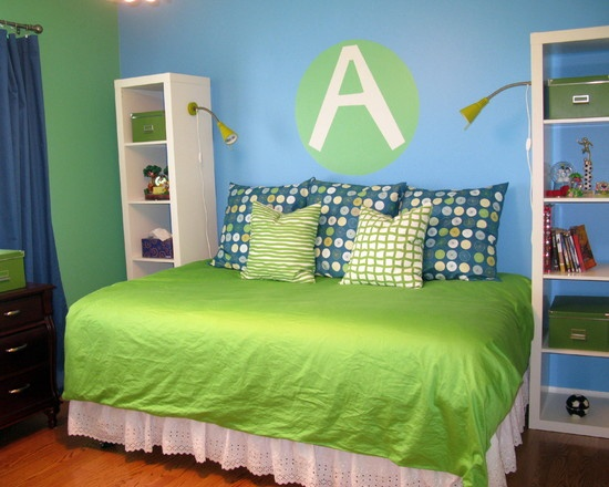 Kids Tropical Kids Rooms Design, Pictures, Remodel, Decor and Ideas - page 9; blue and green for MM's room