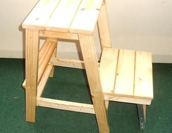 Hocker mit Klapptritt Holzarbeiten,klappbar,Hocker