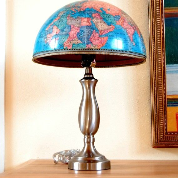 Upcycled globe lamp. #DIY #decor #yes