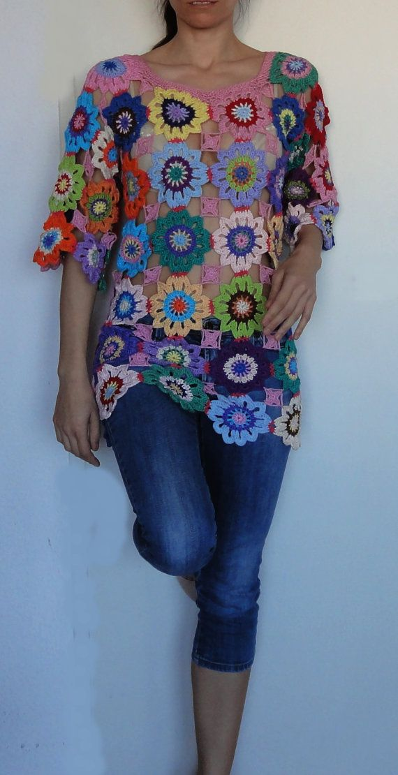 Crochet hippie retro vintage style boho gypsy floral granny patchwork tunic dress sweater