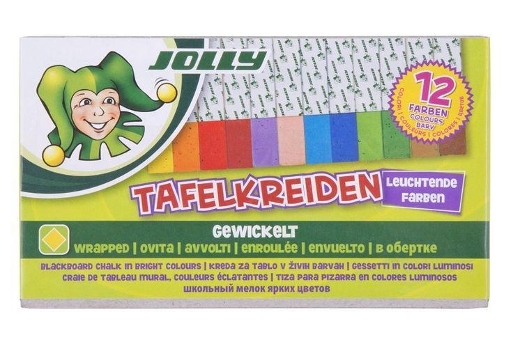 Schoolbordkrijtjes.  Schikt voor krijtbord. Model vierkant, maat 12 x 12mm lengte 9cm.  Per doosje met 12 kleurtjes: wit, licht oranje, donker oranje, rood, paars, huidskleur, lichtblauw, donkerblauw, lichtgroen, donkergroen, gele oker en bruin. Om elk krijtje zit een papiertje ter bescherming.