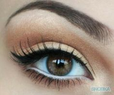 The Perfect Eye Makeup for brown eyes. Trick here is to use white eye pencil to make your eyes look bigger.