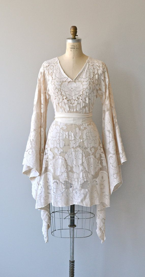 Bohemian Lace wedding dress lace 1970s dress by DearGolden