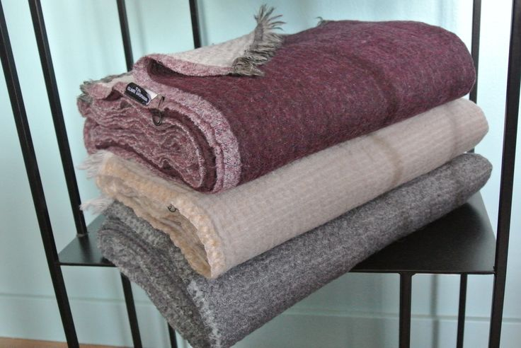 handwoven wool throw, reversible - eggplant/beige/grey