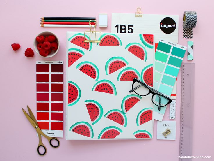 Cute watermelon cover for school. See how we handpainted ours.