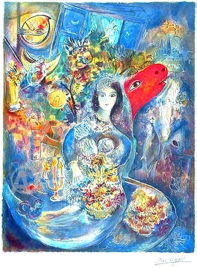 "My Chagall Print ""Bella"".  Portrait of his wife on their wedding day."