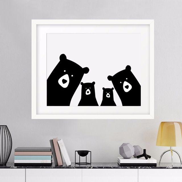 Ours Famille Imprimé Animal Mur Photo Toile Art Affiche Toile Peinture À L'huile Par Numéros Moderne Décor À La Maison, pépinière Imprimer Sans Cadre